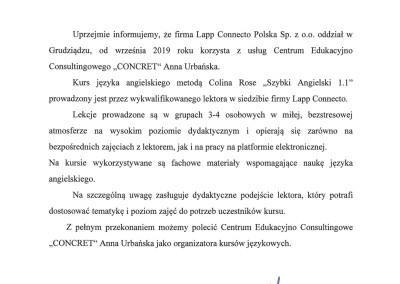 Rekomendacja firma Lapp Connecto Polska